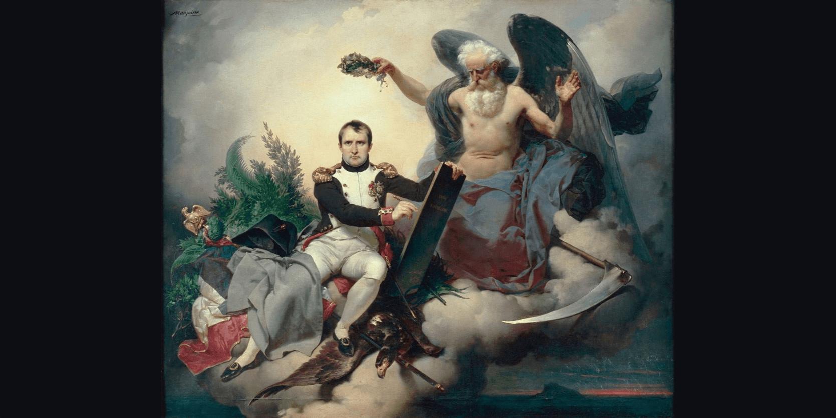 Napoléon couronné par le temps écrit le Code civil