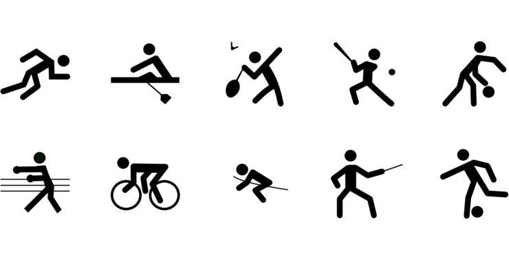 Différents sports en icônes.